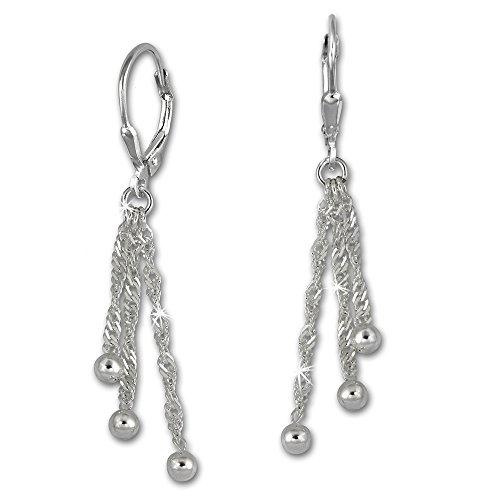 SilberDream Ohrringe für Damen 925 Silber Ohrhänger 3er Kettchen Kugel SDO5673