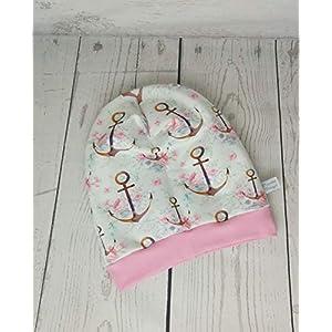 Baby Kinder Beanie Mütze Mädchen Anker Rosa Weiß KU 34-54 cm handmade Puschel-Design