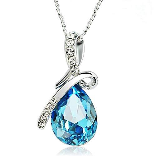 Geindhjiodn collana in argento 925 catena clavicle femminile angelo lacrime acqua blu