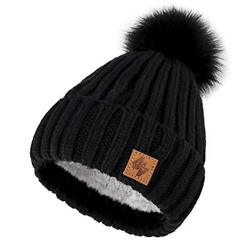 4sold Herren Damen Wurm Winter Style Beanie Strickmütze Mütze mit Fellbommel Bommelmütze Hat Gestrickte Pudelmütze Plain Ski Pom Wooly with Full Cosy Fleece-Futter (Black Black)