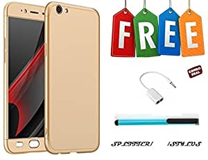 Vinnx 360 Degree Full Body Protection Front & Back Case Cover for Vivo Y55 With Tempered Glass With Free Stylus and Audio Splitter Cable - Golden