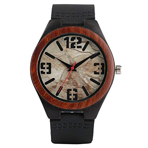FANSWD Hölzerne Uhr Neue Ankunfts-Marmor-Felsen-Granit-Stein-Muster-beiläufige analoge männliche Armbanduhren-lederne runde männliche Sport-Uhr