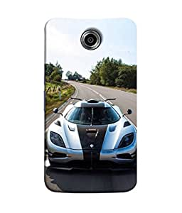 FUSON Designer Back Case Cover for Motorola Nexus 6 :: Motorola Nexus X :: Motorola Moto X Pro :: Google Nexus 6 (Clouds Beautiful Silver Sports Car Led American Cars)