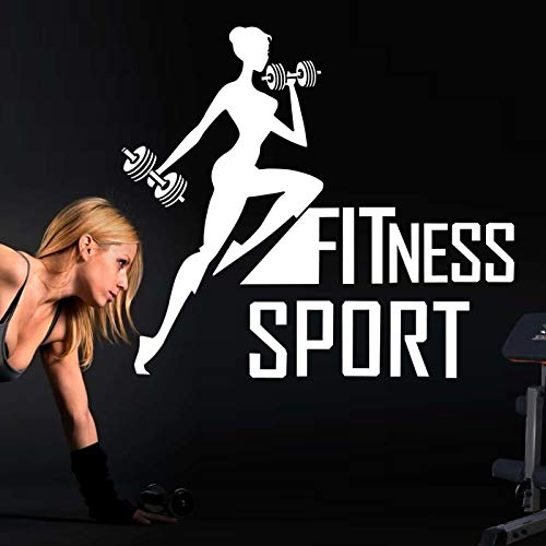 Auto Sport Gym Aufkleber Fitness Mädchen Crossfit Hantel Aufkleber Bodybuilding Poster Vinyl Wandtattoos Dekor Wandbild Gym Aufkleber-58x52cm