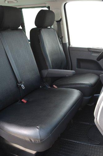Preisvergleich Produktbild Maßgefertigter Schonbezug Sitzbezug Einzel- Doppelsitz, passend für VW Transporter T 5 Bj. 04/03 - 08/09, Kunstleder, anthrazit