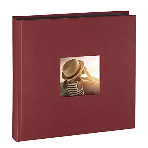 Hama Jumbo Fotoalbum Fine Art (30 x 30 cm, 100 schwarze Seiten, 50 Blatt, Fotobuch mit Ausschnitt für Bildeinschub) Album bordeaux