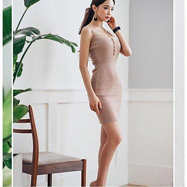 PU&PU Robe Aux femmes Moulante Simple,Couleur Pleine A Bretelles Au dessus du genou Coton / Polyester KHAKI-ONESIZE
