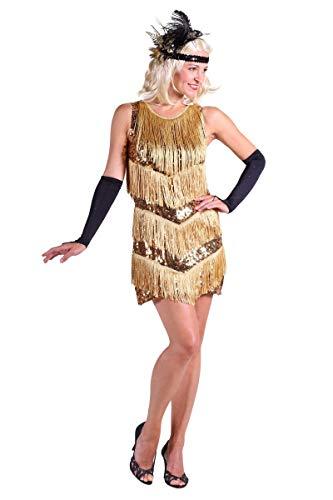 Charleston-Kleid in gold | Fransen-Kleid | 20er Jahre-Kleid (M)