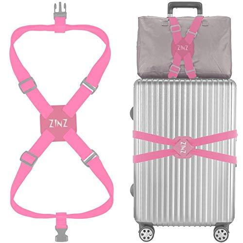 Koffergurt, ZINZ Hochelastischer Koffer, verstellbare Gürteltasche, Bungees mit Schnallen und mehr Anwendungen (Rosa-001)