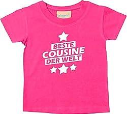 Shirtstown Baby Kinder T-Shirt, Beste Cousine der Welt, Kids Baby Kleinkind Sprüche Niki Logo Motiv Familie Freunde Liebe, Farbe Pink, 24-36 Monate