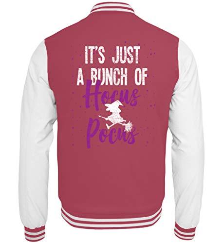Shirtee Es ist nur Hocus Pocus - Hexe - Hexen Halloween Kostüm - College Sweatjacke -L-Pink-Weiss