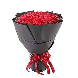 San valentino giorno regalo simulazione rose eterno fiore 52 round sapone fiore-rose rosse-A 38x33x33cm(15x13x13inch)