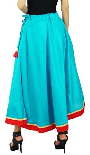Bimba les à long maxi coton jupe une ligne Flaired jupes avec cordon de serrage Turquoise