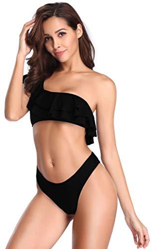 SHEKINI Trajes de baño Mujer de Un Hombro con Relleno de la Hoja de Loto Cheeky Halter Bikini Set Bañador...