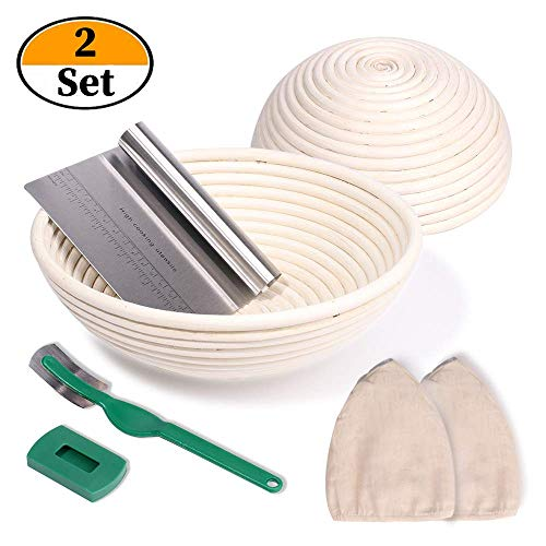 NZQXJXZ Proofing Baskets Set of 2 Round Diameter 25 cm and 22 cm Including Dough Scraper and Linen Set Natural Wicker for Homemade Bread Sustainable Zero Waste