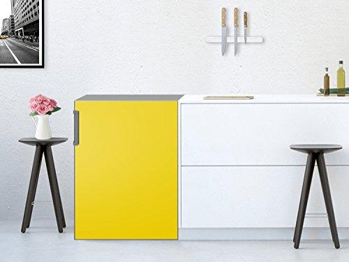 Kühlschrank-Aufkleber / Küchenfolie Kühlschrank 60x80 cm / Design Sticker Gelb 1 / selbstklebende Dekoration