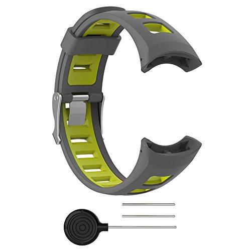 Favourall Ersatz Uhrenarmband – Soft Schwarz Gummi Ersatz Uhrenarmband Armband für Suunto SUUNTO Quest/M1/M2/M4/M5/M Serie Herren Zubehör mit 2 Gratis Werkzeug (Graues Gelb)