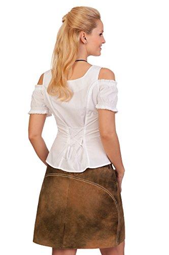 Trachten Bluse - WEDA - weiß, türkis Weiß