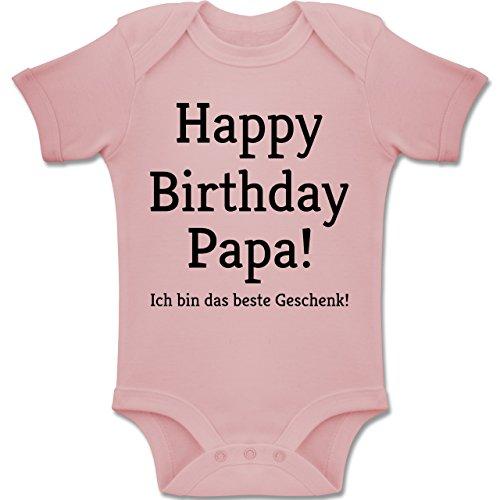 y Birthday Papa 1-3 Monate - Babyrosa - BZ10 - Baby Body Kurzarm Jungen Mädchen ()