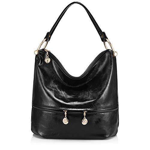 Faux Leder Medium Tote Tasche (Schultertasche PU Leder Totes Top-Griff Taschen Black One Size)