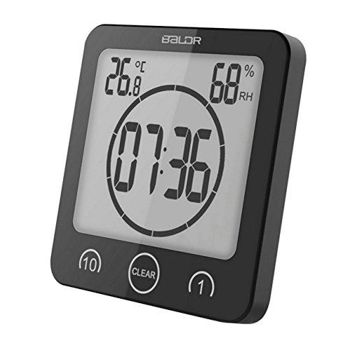 GuDoQi Badezimmer Uhr Dusche Timer Wand Wecker Digitaluhren Steckdose Bad Wasserdicht Innen Thermometer Hygrometer Für Dusche Kochen Make-Up