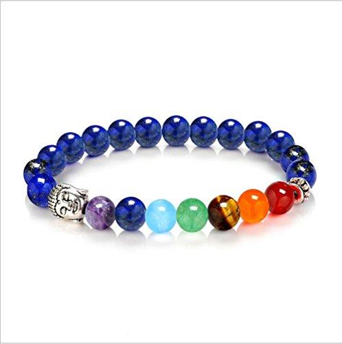 Stillshine - Chakra Yoga Balancing Runde Stein Perlen Elastische Natürliche Perle Kette, Charm Herren Frauen Geschenkbox (Stil 7)