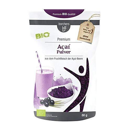 borchers Bio Açaí-Pulver, für Smoothies, Drinks und Müsli, aus der Acai-Beere 80 g - Frucht-smoothie-drinks
