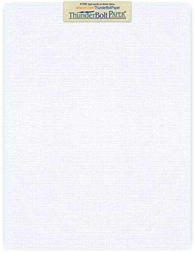 75 Bright White Linen 80# Cover Paper Sheets - 8.5 X 11 (8.5X11 Inches) Standard Letter|Flyer Size - 80 lb/pound Card Weight - Fine Linen Textured Finish - Deep Dye Quality Cardstock by ThunderBolt Paper