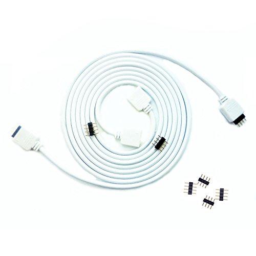 Kabenjee 2 x 4 polig RGB LED Bandlicht 2m Verlängerungskabel,RGB LED Stripe Verbinder Verlängerung Anschluss Verteiler Kabel für OSRAM Flexible RGB LED Streifen,mit Lötfreiem 4-polige Stecker-Weiß