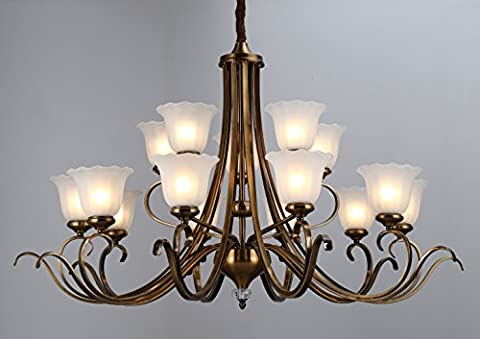 WENSENY Antique Brass Finish Chandelier with White Etched Shades 15 Lights Pendant Lights Ceiling Lighting H48
