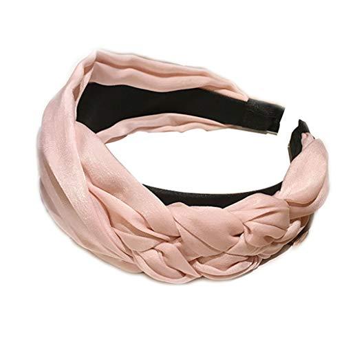 VIccoo Frauen Mädchen Korean Style Vintage Side Twist verknotete Stirnband Tuch gewickelt klobige geflochtene Haarband solide breite Boho Headwear 5 Farben - Wasser Pink