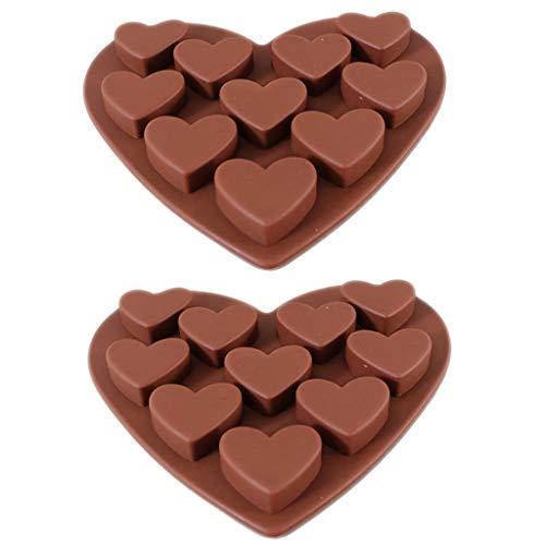 rmen Silikon, routinfly Haushalt Liebesherz geformt Eiswürfelform Werkzeuge Seife Fondant Formen Tablett für DIY Handwerk Schokolade Cookie Backform (Braun, 2 STÜCK) ()