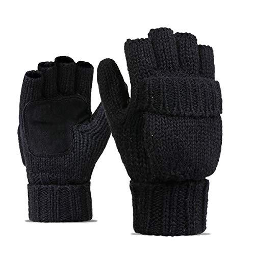 Kata Winter Warme Fingerlose Strickhandschuhe mit Fäustlinge Klappe (Schwarz 2)