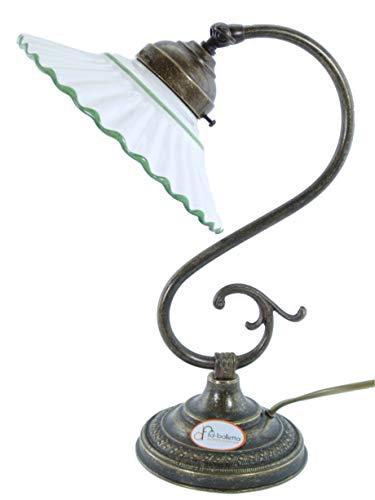 Lampe Messing brüniert Tischleuchte für Nachttisch, Kommode, Lampen Jugendstil mit Teller Keramik...