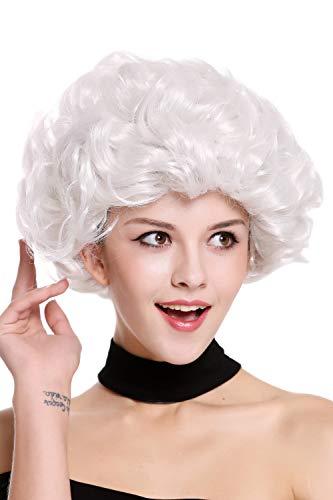 Wig me up ® - 91097-za68c parrucca donna carnevale grigio chiarissimo bianco ricci corta nonna vecchia signora