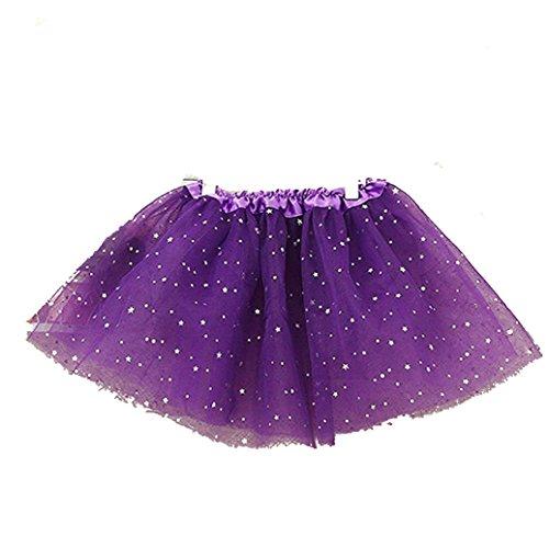 de Baby Kinder Mädchen Prinzessin Sterne Pailletten Party Dance Ballett Tutu Röcke (lila) (Kind Lila Tutu)