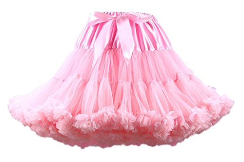 Honeystore Tanzkleid Ballettrock Kinder Mädchen Damen Tutu Rock Schleife Pettiskirt für Show Party Cosplay Rosa One Size