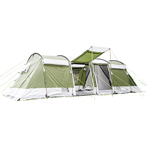 skandika Montana 8 Protect Familienzelt für 8 Personen | eingenähter Zeltboden | 2 trennbare Schlafkabinen | 5000mm Wassersäule | 200 cm Stehhöhe (grün)
