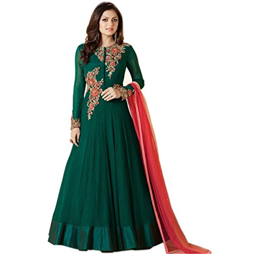 Ethnic Empire Women's Georgette Anarkali Salwar Suit Set (Eed-Ea10760_Green_Free Size)