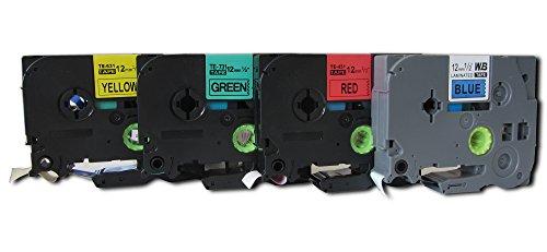 4 komp. Schriftbänder Gelb Rot Grün Blau 12mm Ersatz für zb. Brother P-Touch D400 D400VP E100 E100V PT2430PC P700 P750W H101TB H105 1000 1000W 12090 1290VP 2100VP 2430PC 2730VP 7100VP 7600 1290VP