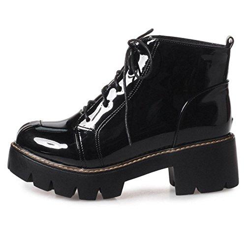 Zanpa Femmes Mode Lacets Combat Bootie Bottes Black