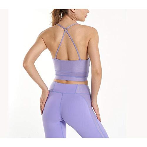Chenyuying Frauen Yoga Wear Set Seamless Knit Stoß- Sport-BH Honig Peach Hip Jogging Fitness Zweiteiliges Set. (Color : Lila, Größe : M) - 2