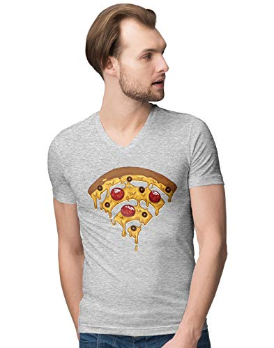 Funny Pizza Wi Fi Illustration Herren V-Neck T-Shirt M (Dominos Bekleidung Pizza)