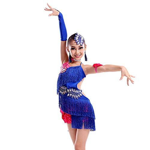 GOWE Mode Latin Dance Kostüm - Kinder Schöne Pailletten Fringe Blumen ärmellos Wettbewerb Leistung Tanz Outfits Lyrischen Tanz Kostüme Prom Kleider für Mädchen, Dunkelblau/140 (Tanz Wettbewerbs Kostüm Lyrischen)