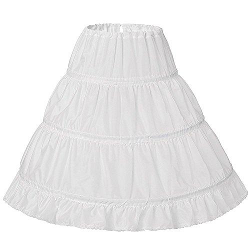 YoYodress Drei Kreis Hoop Kinder Kid Kleid Slip Weiß Ballkleid Blumenmädchen Kleid Hochzeit Zubehör Petticoat (one size, Weiß) (Rock Hochzeit Slip)