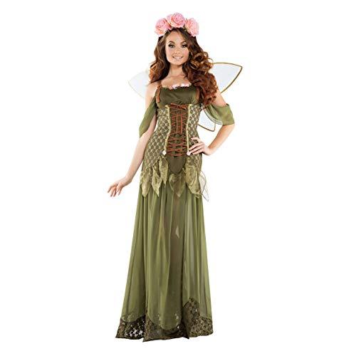 YaXuan Womens Sexy Halloween Engel Fee Flügel Kostüm Kleid Rolle Spielen Wald Blumen Fee Schmetterling Elf Angels Maskerade Karneval Party (Farbe : Grün, Größe : L)