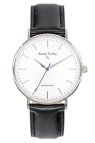 AARON VINLEY Kopenhagen weiß Silber 40mm Bauhaus Stil Armbanduhr analog minimalistisch Lederarmband...