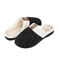 BaronHong Men's Cozy Memory Foam Slippers with Fuzzy Plush Wool-Like Lining,Slip on Clog House Shoes with Indoor Outdoor Anti-Skid Rubber Sole(black,46/47)