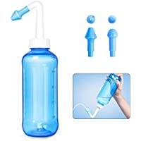 iZoeL Lavado Nasal Irrigación Nasal 500ml con dos boquillas para niños Adultos Alivio Natural para el resfriado y síntomas de alergia