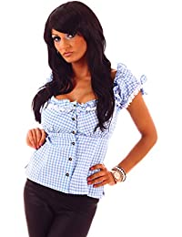 20611 Fashion4Young Damen Dirndlbluse Bluse Trachtenbluse Trachten Oktoberfest Miederbluse Hemd Lederhose
